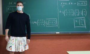 Professores estão usando saia em apoio a aluno que foi expulso